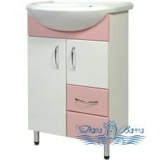 Тумба для ванной СанТа Стандарт Уют 55 (розовый) (с 2-мя ящиками)