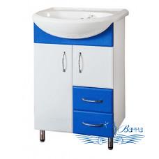 Тумба для ванной СанТа Стандарт Уют 55 (синий) (с 2-мя ящиками)