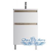 Тумба для ванной AM.PM X-Joy (M85AFSX0552WG) 55 см напольная (два ящика) белый глянец