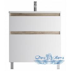 Тумба для ванной AM.PM X-Joy (M85AFSX0802WG) 80 см напольная (два ящика) белый глянец