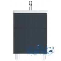 Тумба для ванной AM.PM Gem (M90FSX06022GM32) 60 см напольная (два ящика) графит матовый