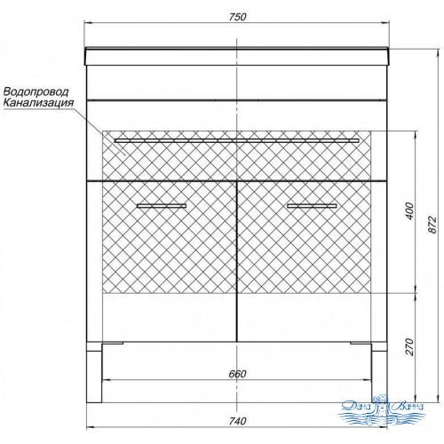 Тумба для ванной Aquanet Верона NEW 75 напольная 1 ящик 2 дверцы (белый)