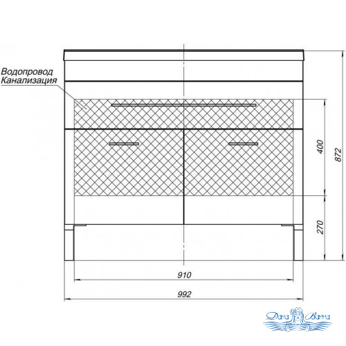 Тумба для ванной Aquanet Верона NEW 100 напольная 1 ящик 2 дверцы (белый)