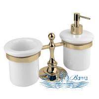 Стакан и дозатор для жидкого мыла Cezares OLIMP-TDT-02-M бронза