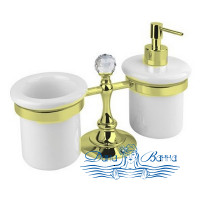 Стакан и дозатор для жидкого мыла Cezares OLIMP-TDT-03/24-Sw золото