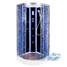 Душевая кабина Deto BМ 1510 Black с LED-подсветкой и гидромассажем (100x100)