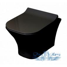 Унитаз подвесной Cerutti 2615E Matt black с сиденьем микролифт, черный