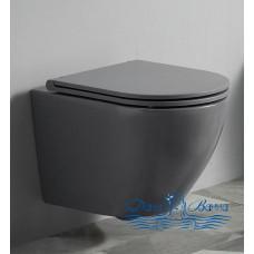 Унитаз подвесной CeramaLux 2197MG с сиденьем Soft Close, серый