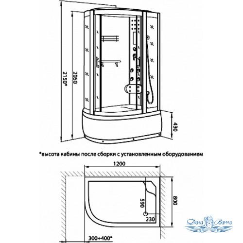 Душевая кабина Luxus 520 R 120х80