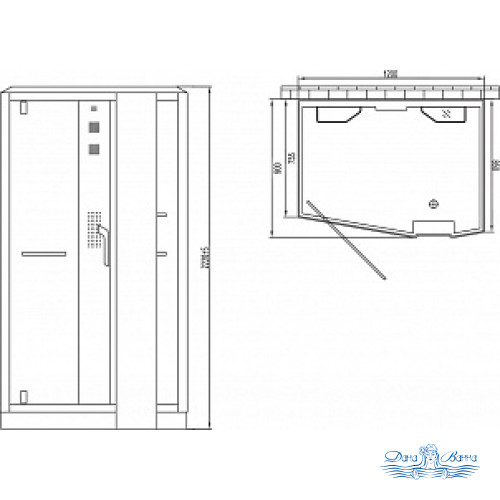 Душевая кабина Orans SR-89105RS белая, с баней 120х90