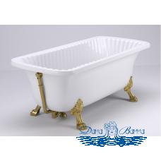 """Ванна из литьевого мрамора Migliore OLIVIA 175x85, на лапах """"LEON"""" Standart, золото"""