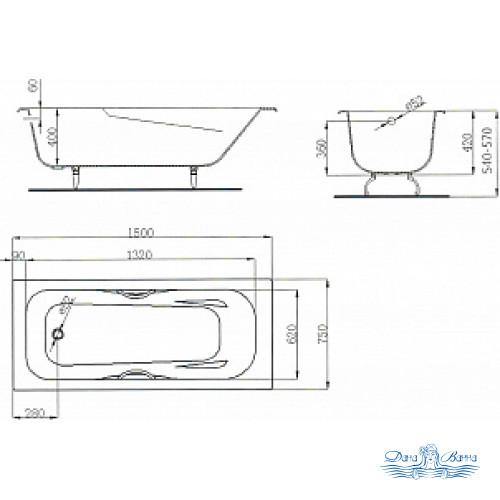 Чугунная ванна Maroni Colombo 150x75 с ручками