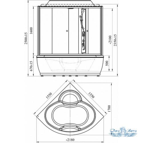Душевой бокс Radomir Калифорния 2 стекло прозрачное 155х155