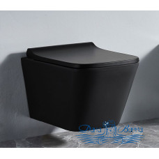 Унитаз подвесной CeramaLux 5171MB с сиденьем Soft Close, черный матовый