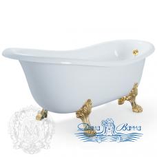 Ванна из литьевого мрамора Migliore Bella 170x80, фурнитура золото