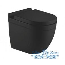 Унитаз подвесной CeramaLux 2198MB с сиденьем Soft Close, черный матовый