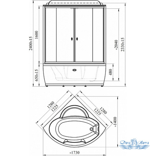 Душевой бокс Radomir Лаура 1 стекло прозрачное 128х128