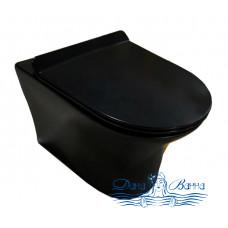 Унитаз подвесной Cerutti 2617E Matt black с сиденьем микролифт, черный