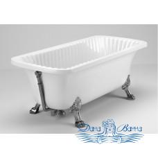 """Ванна из литьевого мрамора Migliore OLIVIA 175x85, на лапах """"LEON"""" Standart, хром"""
