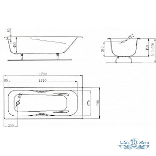Чугунная ванна Maroni Colombo 170x80 с ручками