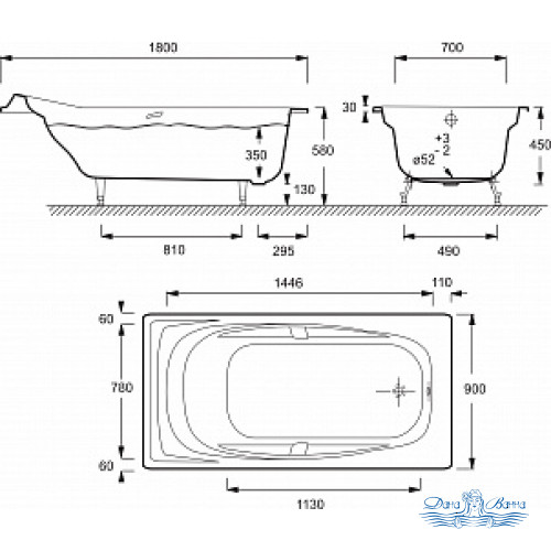 Чугунная ванна Jacob Delafon Super Repos 180x90 E2902 с ручками