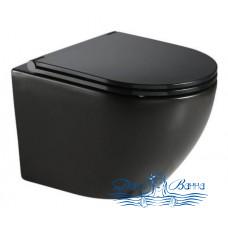 Унитаз подвесной CeramaLux 2197MB с сиденьем Soft Close, черный матовый