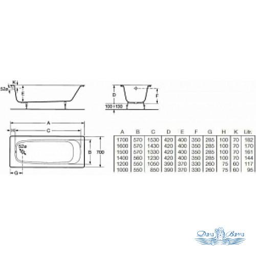 Чугунная ванна Roca Continental 21290100R 170x70 см без антискользящего покрытия