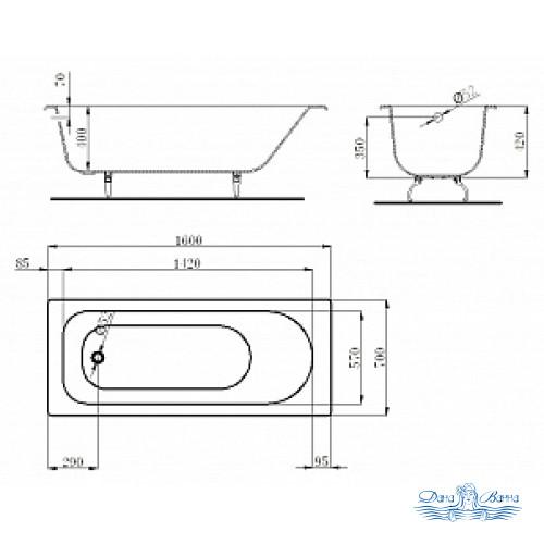 Чугунная ванна Castalia 160x70