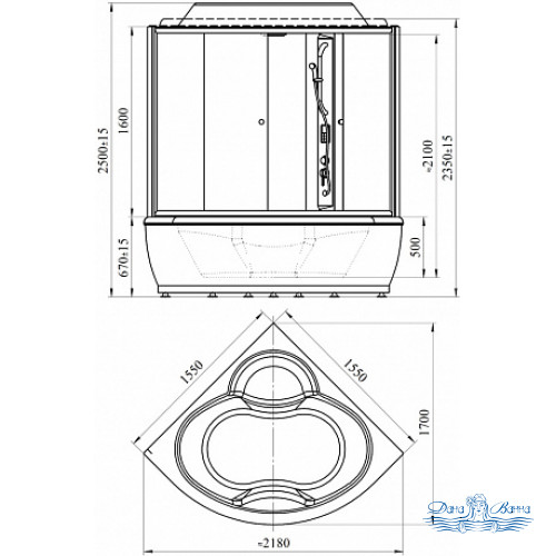 Душевой бокс Radomir Калифорния 1 стекло прозрачное 155х155