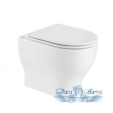 Унитаз подвесной CeramaLux 2199 с сиденьем Soft Close, белый глянцевый