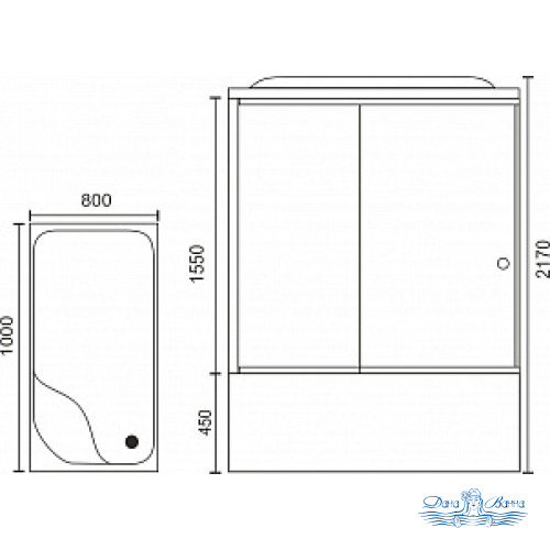 Душевая кабина Royal Bath RB 8100BP3-WT L 100х80 (белое/прозрачное)