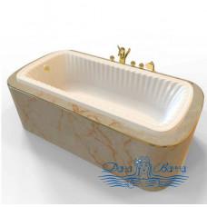 Ванна из литьевого мрамора Migliore OLIVIA Podium 175x80, встраиваемая, хром