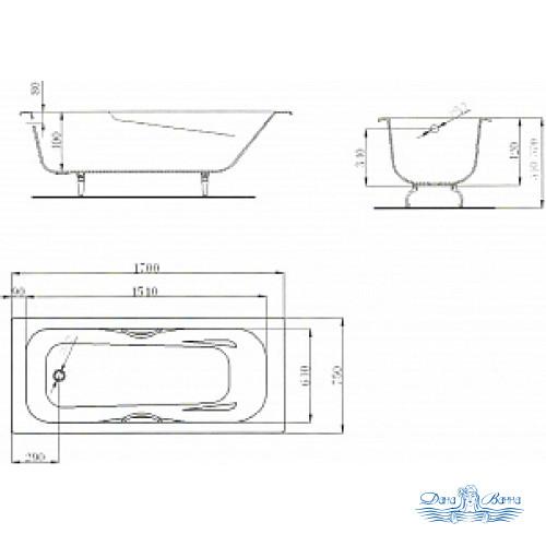 Чугунная ванна Maroni Colombo 170x75 с ручками