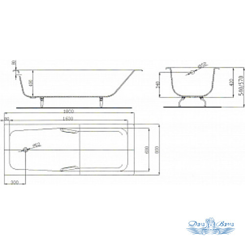 Чугунная ванна Maroni Giordano 180x80 с ручками