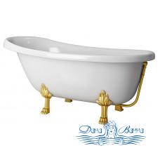 Ванна из литьевого мрамора Castone Даллас 170x82 ножки золото, слив-перелив внешний Vicario золото