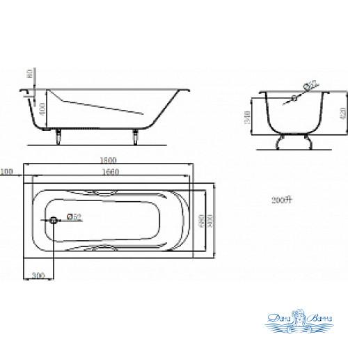 Чугунная ванна Castalia Venera 180x80 с ручками