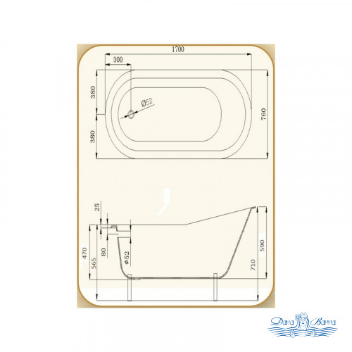 Чугунная ванна Magliezza Gracia Red 170x76
