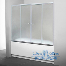Шторка на ванну 1MarKa 180 профиль хром, стекло рифленое