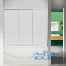 Шторка на ванну Bas для ванны Ахин, Мальта, Атланта, Нептун, Индика 3 створчатая, стекло