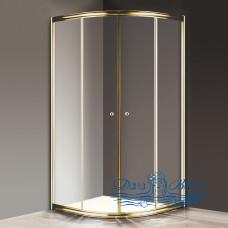 Душевой уголок Cezares Giubileo-R2-100 прозрачное стекло, золото 100х100