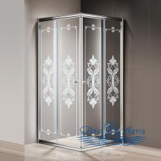 Душевой уголок Cezares Giubileo-A-2-100 стекло с узором, хром 100х100