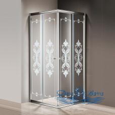 Душевой уголок Cezares Giubileo-A-2-80 стекло с узором, хром 80х80