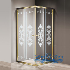 Душевой уголок Cezares Giubileo-A-2-100 стекло с узором, золото 100х100