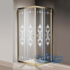 Душевой уголок Cezares Giubileo-A-2-80 стекло с узором, золото 80х80