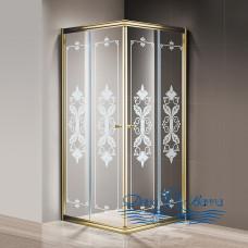 Душевой уголок Cezares Giubileo-A-2-90 стекло с узором, золото 90х90