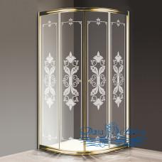 Душевой уголок Cezares Giubileo-R2-90 стекло с узором, золото 90х90