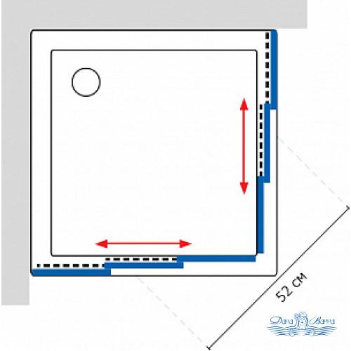Душевой уголок GuteWetter Practic Square GK-433 75x75 профиль хром
