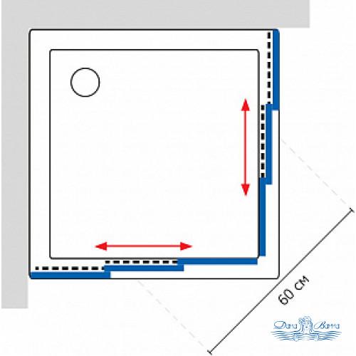 Душевой уголок GuteWetter Practic Square GK-433 85x85 профиль хром