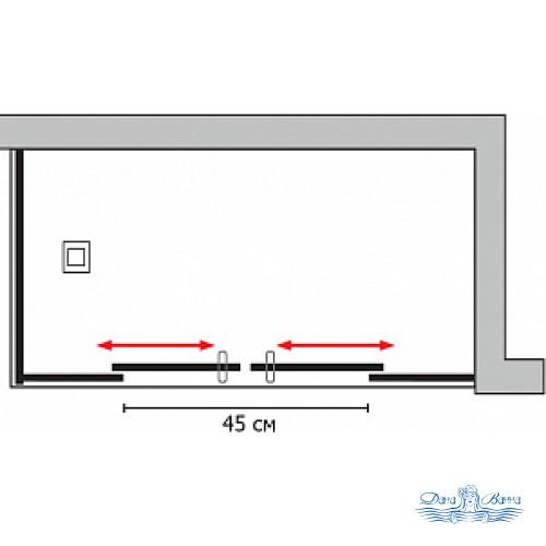 Душевой уголок GuteWetter Slide Rectan GK-865 правая 110x70 профиль хром
