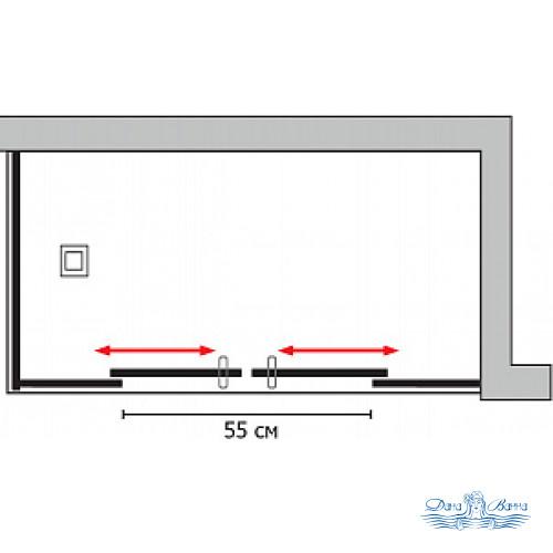 Душевой уголок GuteWetter Slide Rectan GK-865 правая 130x80 профиль хром